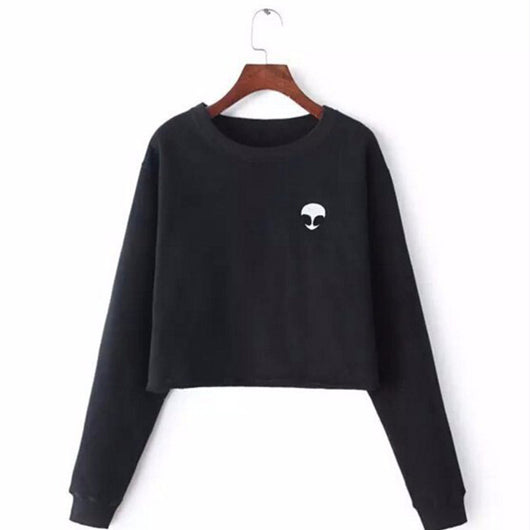 Crewneck Sweatshirt Loose Short Fleece Jumper For Women