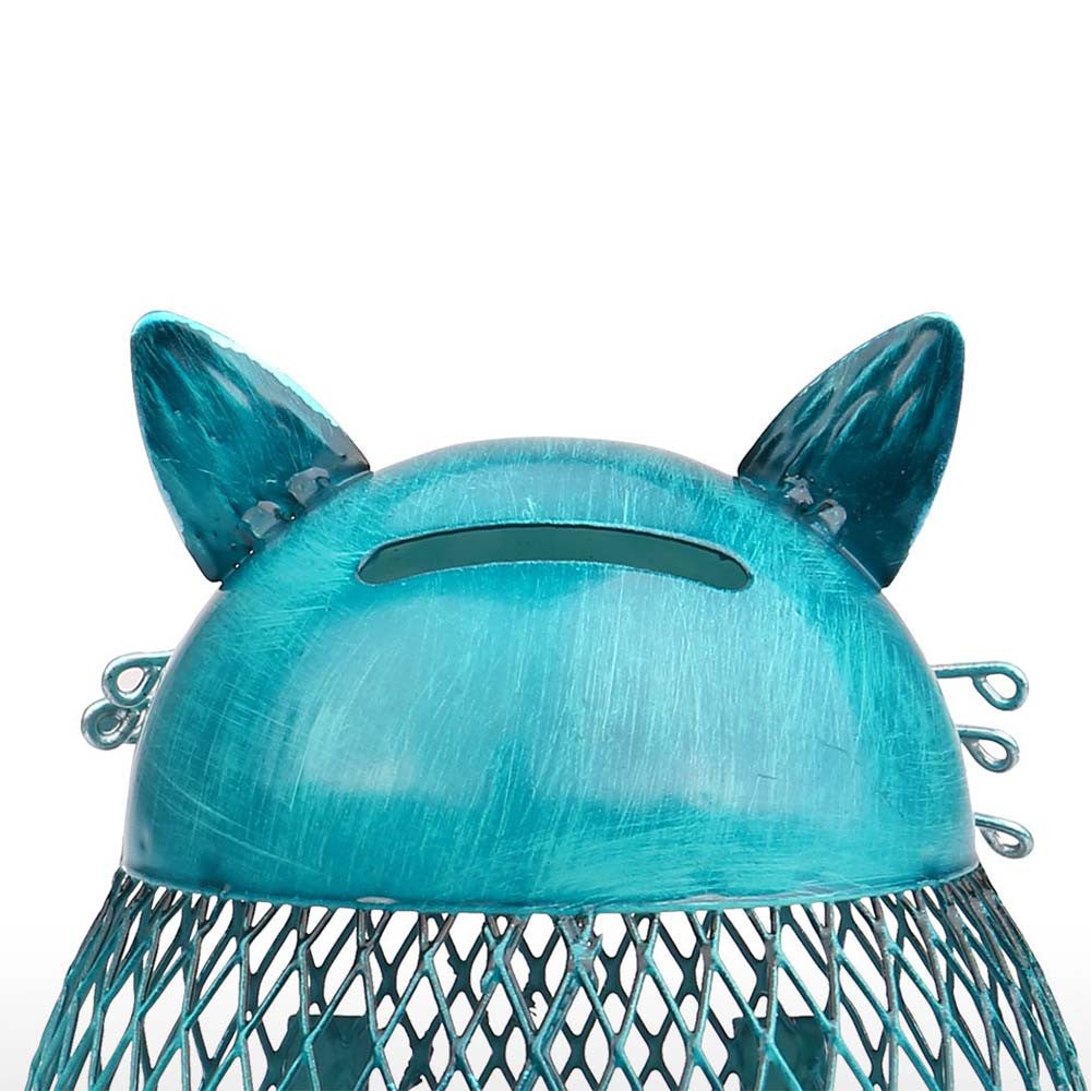 Blue Cat Shaped Metal Coin Money Piggy Bank - Best Gifts For Kids