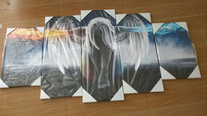 5 Pieces Angeles Girls Canvas for Living Room Wall Art - HD Quality