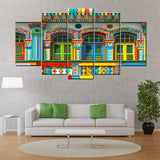Little India Singapore Building art 5 Piece Canvas Wallart-HD Quality