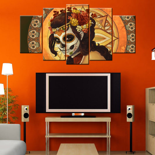 Day Of The Dead 5 Piece Canvas Wallart - HD Quality