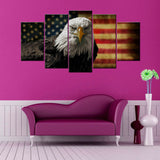 American Eagle Flag 5 Piece Canvas Wallart - HD Quality