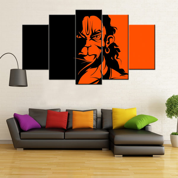 Angry Hanuman 5 Piece Canvas Wallart - HD Quality