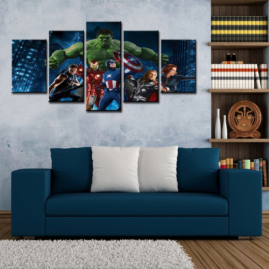 5 Pieces  Avengers Super Heros Canvas Wall Art - HD Quality