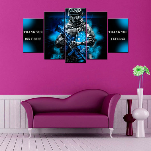 Battlefield Soldier By Cazuar 5 Piece Canvas Wallart - HD Quality