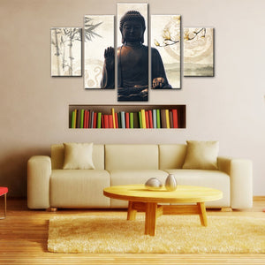 5 Piece Modern Buddha Canvas Wall Art  For Living Room - HD Quality
