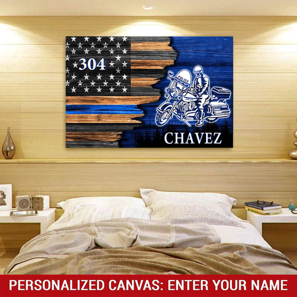 Half Flag - Police Officer Suit - Personalized Canvas Wallart