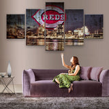 Cincinnati Reds 5 Piece Canvas Wallart - HD Quality