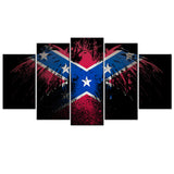 Confederate Flag Eagle 5 Piece Canvas Wallart - HD Quality