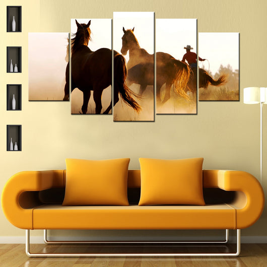 Cowboy And Horses 5 Piece Canvas Wallart - HD Quality