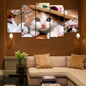 Cute Cat 5 Pieces Canvas Wall Art HD Printed - Perfect Christmas Gift For Cat Lovers