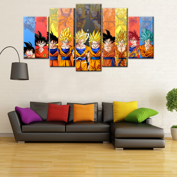 Dragon Ball Z Goku Evolution 5 Piece Canvas Wallart - HD Quality