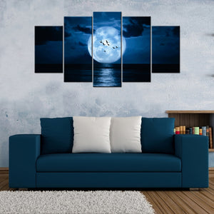 Ducks Fliying In Moon Light Lake 5 Piece Canvas Wallart - HD Quality