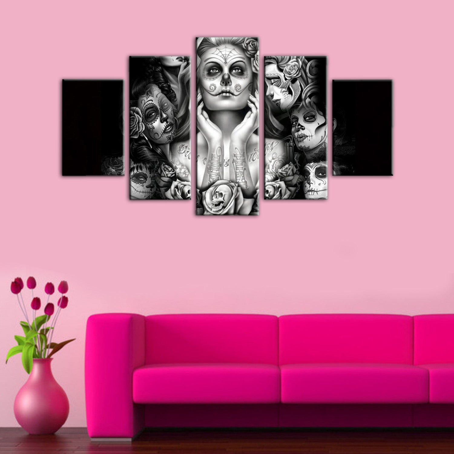 Day Of The Dead Wall Art 5 pieces day of the dead face canvas wall art - hd quality