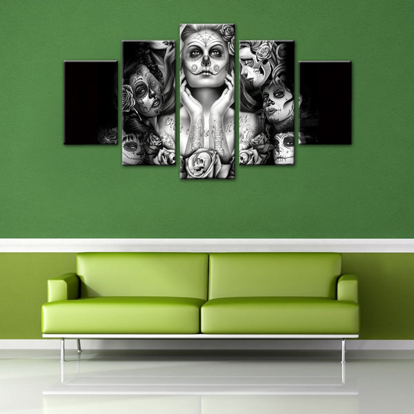 5 Pieces Day Of The Dead Face Canvas Wall Art - HD Quality