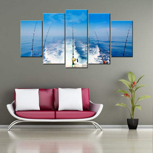 Deep Sea Fishing 5 Piece Canvas Wallart - HD Quality