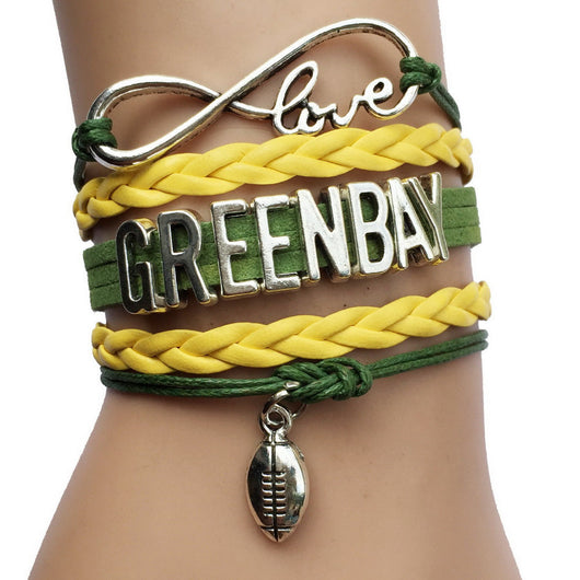 Infinity Love Green Bay Packers Team Bracelets -Sports Gift