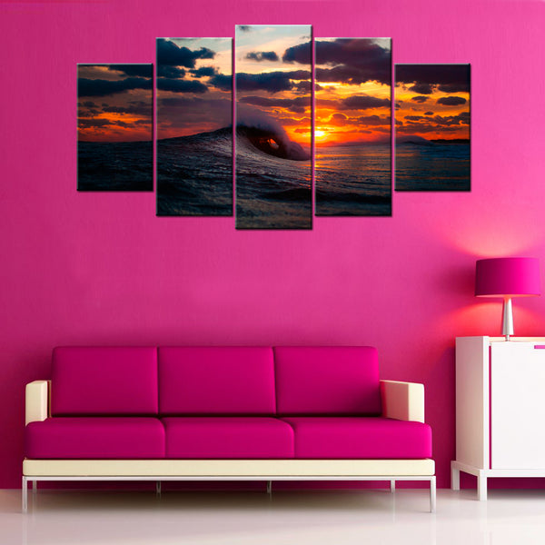 Ocean Sunset 5 Piece Canvas Wallart - HD Quality