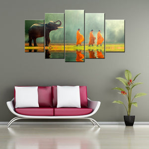 Elephant And Monks 5 Piece Canvas Wallart - HD Quality