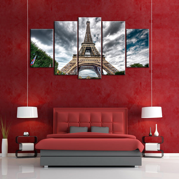 5 Pieces Paris Eiffel Tower Canvas Wall Art - HD Quality