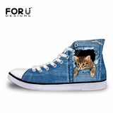 2017 Hot Women's High Top Cute 3D Animal Cat Canvas Shoes