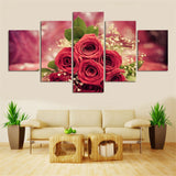 Beautiful Roses 5 Piece Canvas Wall art- HD Quality