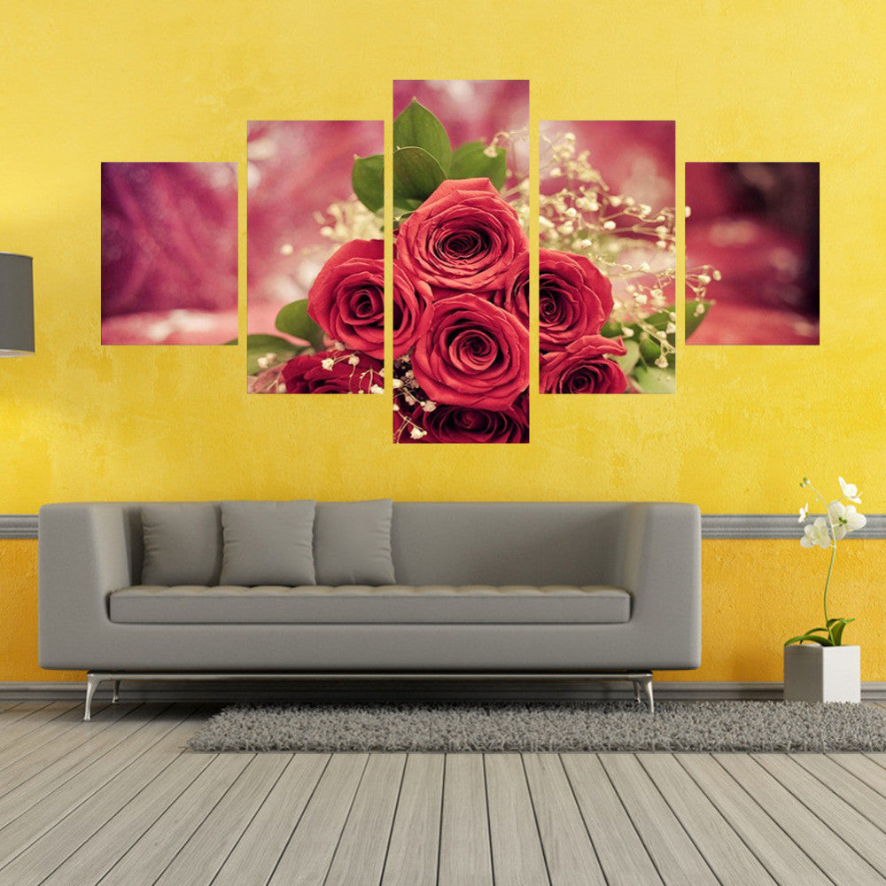 Beautiful Roses 5 Piece Canvas Wall art- HD Quality – OffersPlace