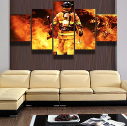 Firefighter Hero 5 Pieces Canvas Wallart - HD Quality