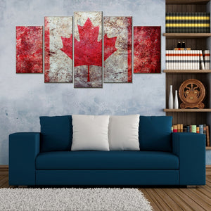 Flag Of Canada 5 Piece Canvas Wallart - HD Quality