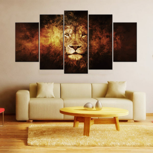 Lion The Burning King  5 Piece Canvas Wallart - HD Quality