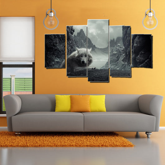 5 Piece Winter Wolf Canvas Wall Art - HD Quality