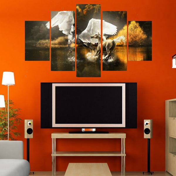 5 Piece Angel Stallion Canvas Wallart - HD Quality