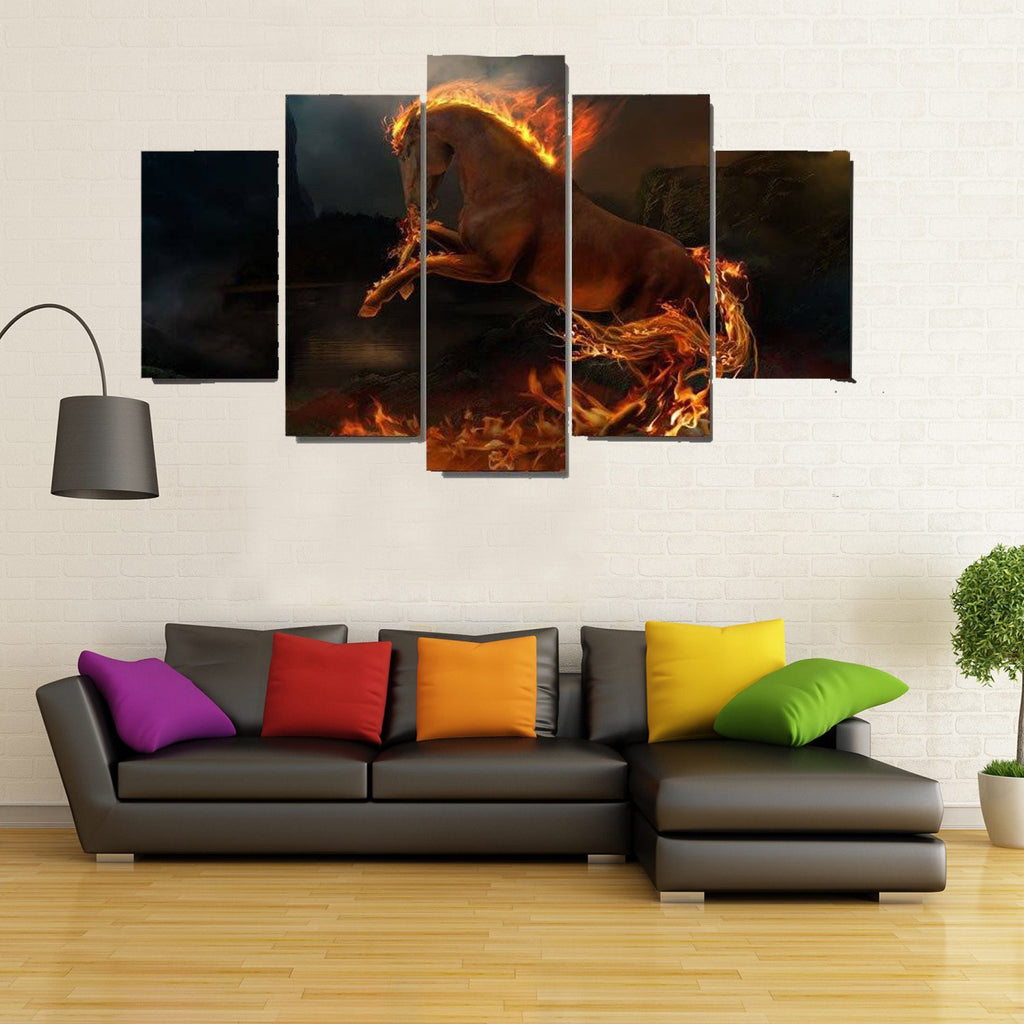 5 Piece Passionate Fire Horse Canvas Wall Art