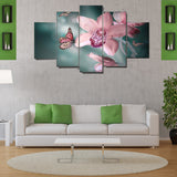 5 Piece Orchid Butterfly Canvas Wallart - HD Quality