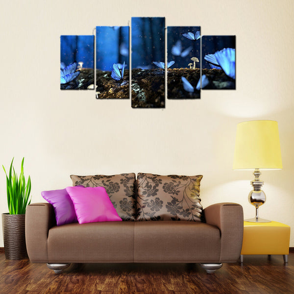 5 Piece Blue Butterflies Canvas Wallart - HD Quality