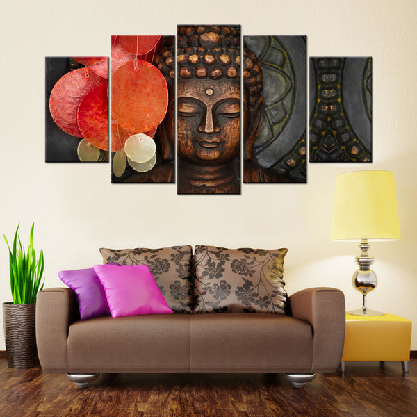 Buddha Statue 5 Piece Canvas Wallart - HD Quality