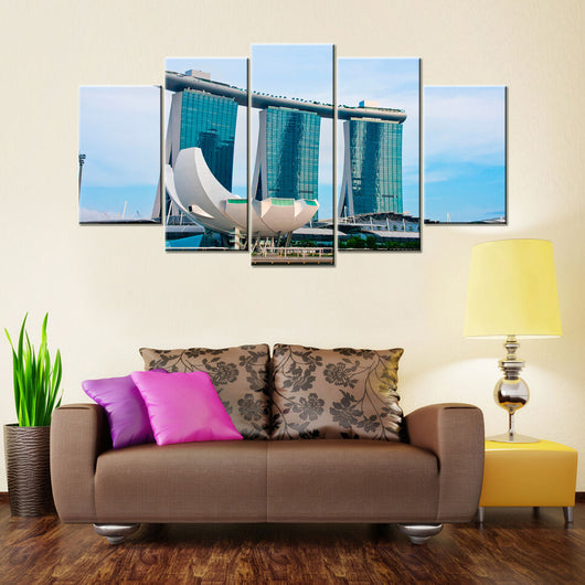 Marina Bay Sands In Singapore 5 Pieces Canvas Wallart - HD Quality