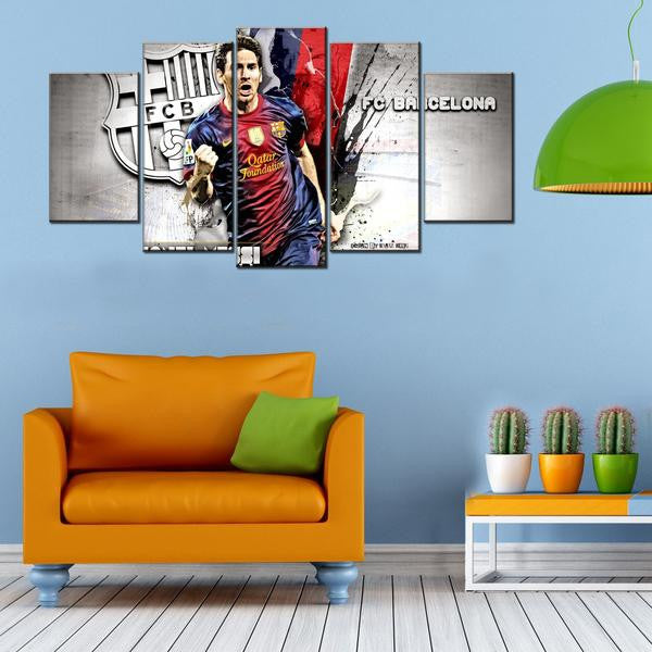 FC Barcelona Lionel Messi 5 Piece Canvas Wallart - HD Quality