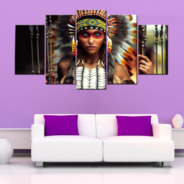 Indian Figure Modular Girl 5 Piece Canvas Wallart - HD Quality