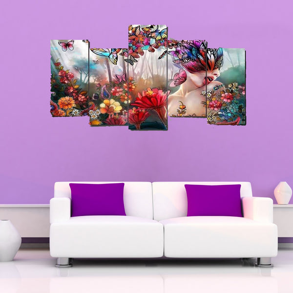 5 Piece Butterfly Women Canvas Wallart - HD Quality