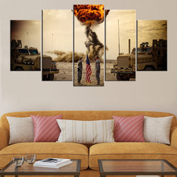 Us Army Explosions Flags 5 Piece Canvas Wallart - HD Quality