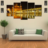Golden Temple At Night 5 Piece Canvas Wallart - HD Quality