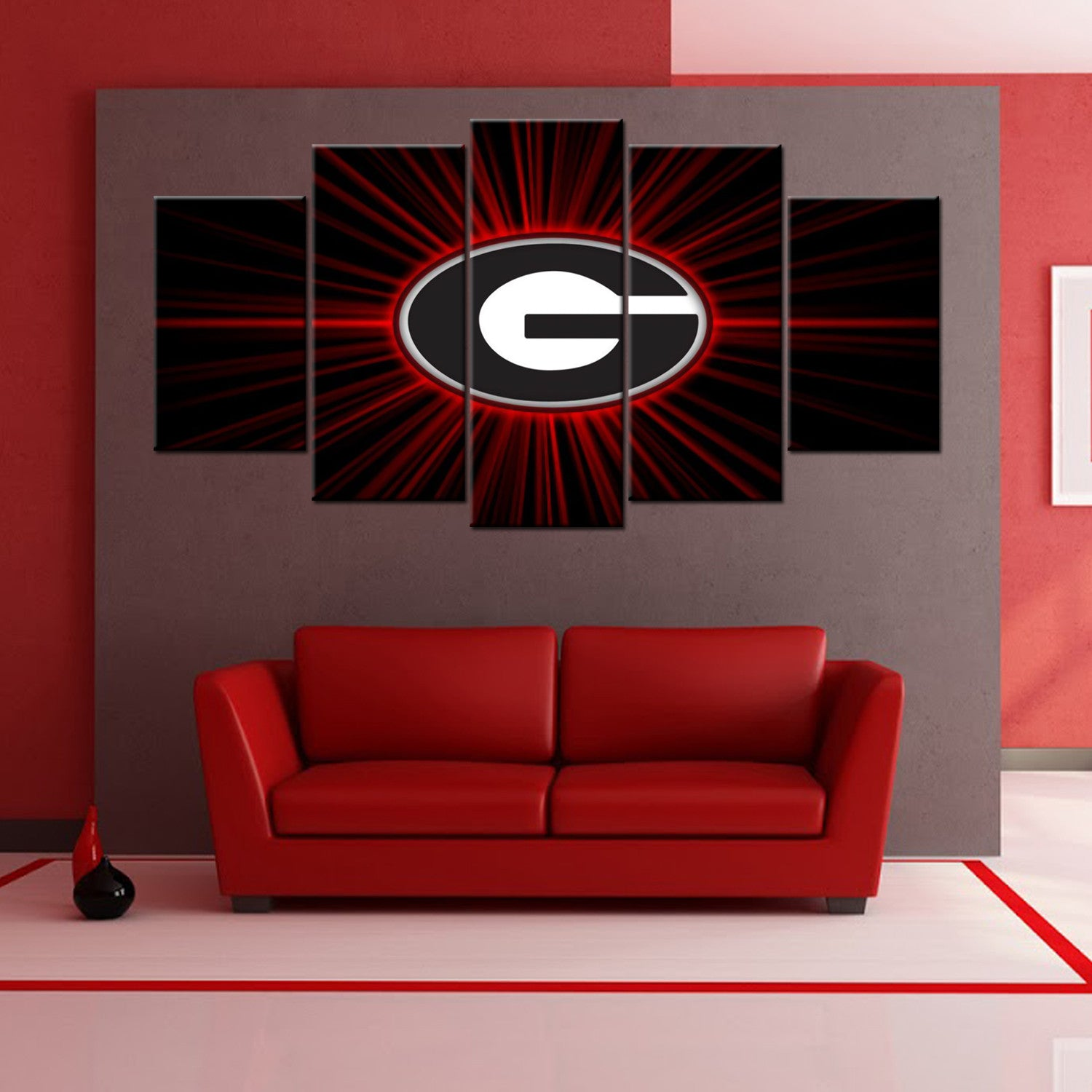 Georgia Bulldog 5 Piece Canvas Wallart - HD Quality