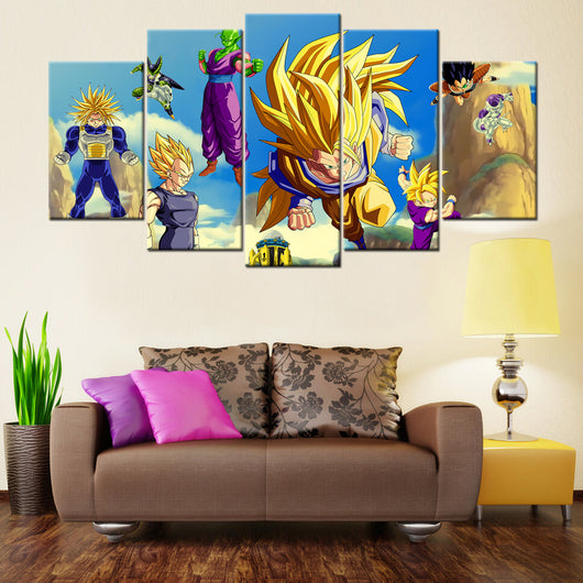 Dragon Ball Z Team 5 Piece Canvas Wallart - HD Quality