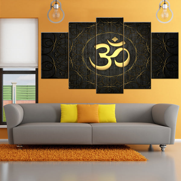 Golden OM 5 Piece Canvas Wallart - HD Quality