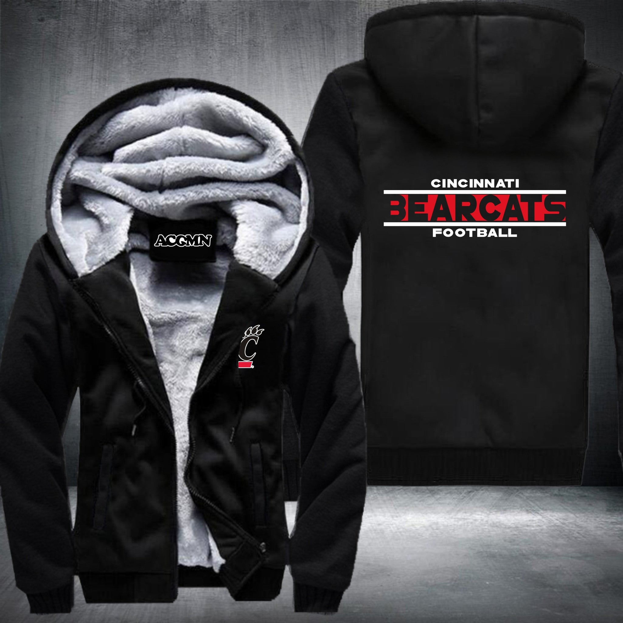 Cincinnati Bearcats Super Warm Thicken Fleece Zip Up Hoodie Jacket