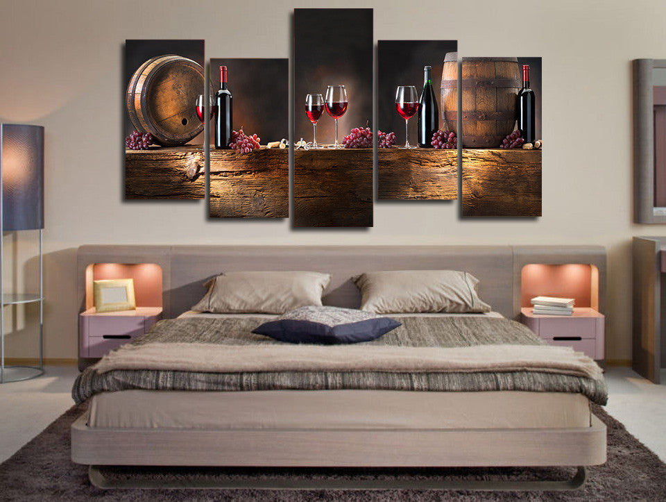 5 Piece Canvas Wall Art wine lovers 5 piece canvas wall art-high quality - offersplace