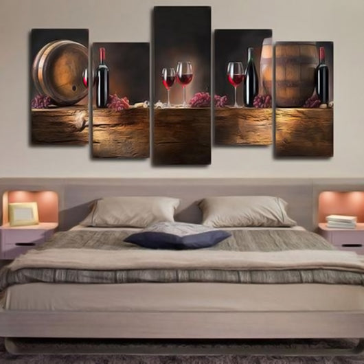 Wine Lovers 5 Piece Canvas Wall Art-HD Printed Perfect Gift