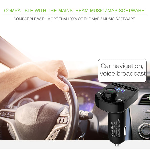 3.1A Quick Charge Dual USB with Car FM Transmitter Aux Modulator Bluetooth Audio MP3 Player