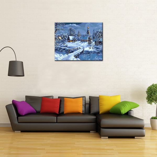 Christmas Snow Landscape DIY Painting Home Art  Pictures For Living Room